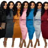 2020 Women's Foreign Trade Turtleneck Sweater Two-piece Sweater Skirt 202001166273
