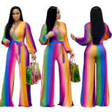 2020 Urban Casual Fashion Gradient Deep V Wide Leg Slightly Mid Waist Sexy Casual Jumpsuit 20200214275