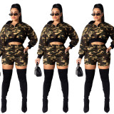 2020  Spring Fashion Sexy Woman Long Sleeve Zipper Camouflage Shorts Two Piece Set202002046282