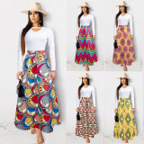 2020  Casual Sexy Fashion Spliced One-piece Hot Style Fashion Print Skirt 202002026275