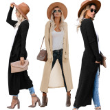 2020 Urban Casual Style Fashion Sexy Cardigan Slim Solid Color Coat Long Length Extra Pockets 202002056630