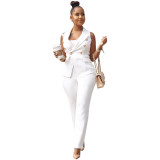 2020 OL Commuting Style Office Women Two-piece Vest Small Suit Vest Jacket Casual White Trousers Summer 20200121032