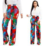 2020 Supermodel Hot Sale High Waist Flower Casual 2 Color Straight Pants 20200225086