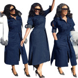 2020  Women's Denim Lace-up Shirt Dress 202002246291