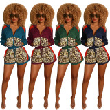2020 Fashion Multicolor Stitched Leopard Camouflage Print Casual Long Sleeve Top Shorts Set Autumn 20200218612