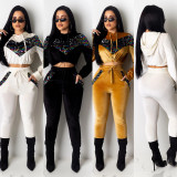 2020 Fashion Thick Korean Fleece Stitching Sequins Long-sleeved Sweater Pants  Casual Suit Women 20200220642
