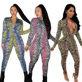 2020 Fashionable Sexy Snake Print Mid-rise Slim-fit Zipper V-neck Casual Female Jumpsuit 20200220647