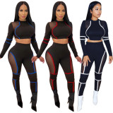 2020 Street Hipster Net Yarn Stitching Long-sleeved T-shirt Pencil Pants Casual Sports Suit Autumn Women 20200225140