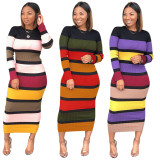 2020 Urban Casual Fashion Sexy Printed Striped Slim Long-sleeved Mid-skirt Dress Autumn Women 20200224129
