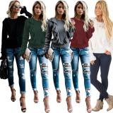 2020 Women's Thick Multi-color Autumn Casual Round Neck Long Sleeve Knitted Sweater Women's Clothing 20200224031