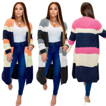 2020 European And American Women's Fashion Contrast Color Sweater Cardigan 202002166286