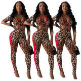 2020 Tow Piece Set Women Clothing Sexy Leopard Print Low Collar Band Tight Trousers 20200330039
