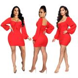 2020 Fashion Sexy Women Solid Color Backless Lace Up Long Sleeve Short Dress One Step Skirt 202003317152
