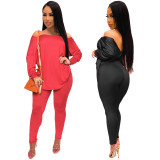2020 Sexy Women's Irregular Strapless Backless Solid Color Long Sleeve Pants Set Two Piece Set 202003307146
