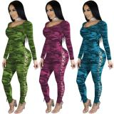 2020 Sexy Skinny Camouflage Double Eyed Long Sleeve Women's Sexy Jumpsuit 20200228135