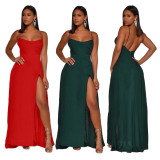 2020 Sexy Fashion Women's Solid Color Split Back Halter Casual Long Dress One Step Skirt 202003317155