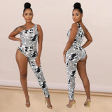 2020 Fashion Sexy Women's Asymmetric Newspaper Print Skinny Sleeveless Casual Long Jumpsuit 202003307141
