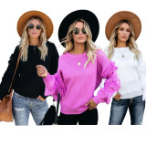 2020 Casual Fashion Comfortable Fit Fringe Round Neck Slim Body Long Sleeve Solid Color Women's Sweater 20200228268