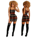 2020 Sexy Comfortable Fashion Women Off Shoulder Plaid Casual Sleeveless Short Dress One Step Skirt 202003307139
