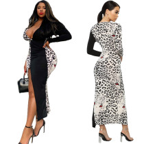 2020 Fashion Sexy Long Sleeve Long Dress Comfortable Breathable Deep V-Neck Leopard Print Dress 20200227234