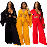 2020 Sexy Solid Color Long Sleeve Ruffled Big Flared Sleeve Pants Two-piece Suit 202003249151
