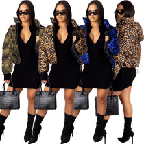2020 Fashion Sexy Camouflage Leopard Coat down Jacket Casual Ladies Long Sleeve Cotton Coat 202003276244