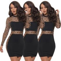 2020 Black Autumn Casual Fashion Printed Leopard Stitching Ladies Mini Dress 202004206032