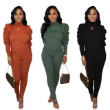 2020 Fashion Piled Long-sleeved Turtleneck Warm Sweater Casual Sports Suit Women 20200220640