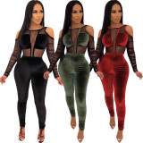 2020 Fashion Sexy Mesh Gauze Corduroy Stitching Casual Long Sleeve Women's LongJumpsuit 202003276245