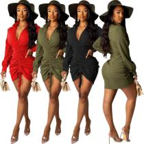 2020 Fashion Comfortable Solid Color Sexy Deep V-neck Three-color Ladies Long Sleeve Casual Dress 202003276237