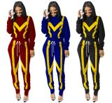 2020 Women Autumn Fashion Casual Sexy Long Sleeve Patchwork Zipper Pencil Pants Two-piece Set 202004209048