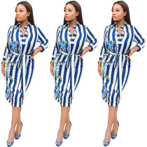 2020 Light Blue Spring And Autumn Style Casual Fashion Printed Striped Dress 202004206029