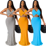 2020 Fashion Casual Sexy Contrast Color Backless Wrapped Chest Strap Stripe Long Dress Summer 20200425084
