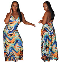 2020 Multicolor Sexy Printed High Waist Strapless Backless Casual Club Dress 202003271040