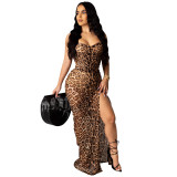 2020 Fashion Casual Sexy Leopard Straps Wrapped Chest Strap Irregular Skirt Evening Dress Dress Summer 20200425085
