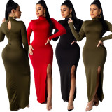 2020 Club Dresses Women Sexy Party Close-fitting Open Fork Solid Color Long Sleeve Turtleneck 202003266122