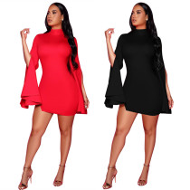 2020 Fashionable Solid Color Casual Sexy Split Speaker Long Sleeve Short Dress Evening Dress Winter 202004266330