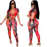 2020 Red Sexy Short Sleeve Print Skinny Chain Pattern Strap Two Piece Set 202003271037