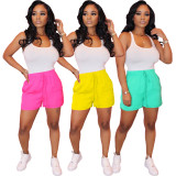 2020 Fashion Casual Sexy Solid Color Pleated Vest Sports Shorts Elastic Pants Suit Summer 20200425087
