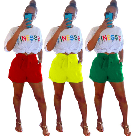 2020 Very Chic Ladies Casual Suit Letter Printed Short-sleeved T-shirt Shorts Two-piece Summer 20200425089
