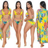 2020 Yellow Summer Sexy Fashion Casual Bikini Cross Strap Print Swimsuit Suit 202004256323