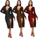 2020 Spring Women Club Dresses Sexy Deep V Sequin Open Fork Solid Color Long Sleeve Self-cultivation 202004236114