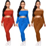 2020 Autumn Sweaters Two Piece Set Women Clothing One Word Collar Long Sleeved Trousers 202004226104
