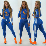 2020 Fashion Casual Cartoon Alphabet Print Hooded Two-piece Ladies Long Sleeve Pencil Pants Sports Suit 202003228089