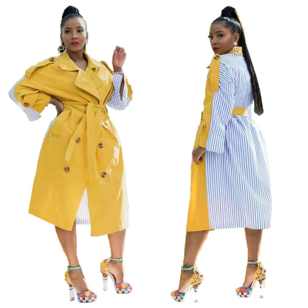 2020 Fashion Casual Solid Color Stripe Stitching Long Trench Coat Suit Collar Lace Up Lady Jacket 202003228078