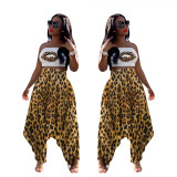 2020 Fashion Casual Sexy Leopard Lips Print Halter Wrap Chest Long Harem Pants Two-piece Summer 202004236310