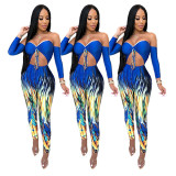 2020 Women Sexy Jumpsuits Close-fitting Long Sleeved Long Trousers Printing Wrapped In Chest 20200330035