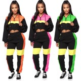 2020 Spring Two Piece Set Women Clothing Collision Color Draw Rope Hoodie Long Sleeved Trousers 202004226110