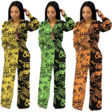 2020 Fashion Sexy Graffiti Letters Print Splicing Cardigan Women's Long Sleeve Casual Jumpsuit 202003228069