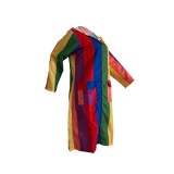 2020 Casual Club Print Women's Multicolor Hooded Dress Contrast Jacket 202003249147